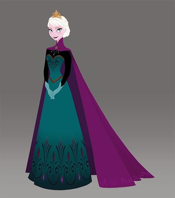 グリーンのドレス姿のエルサ  【アナと雪の女王】公式の2D