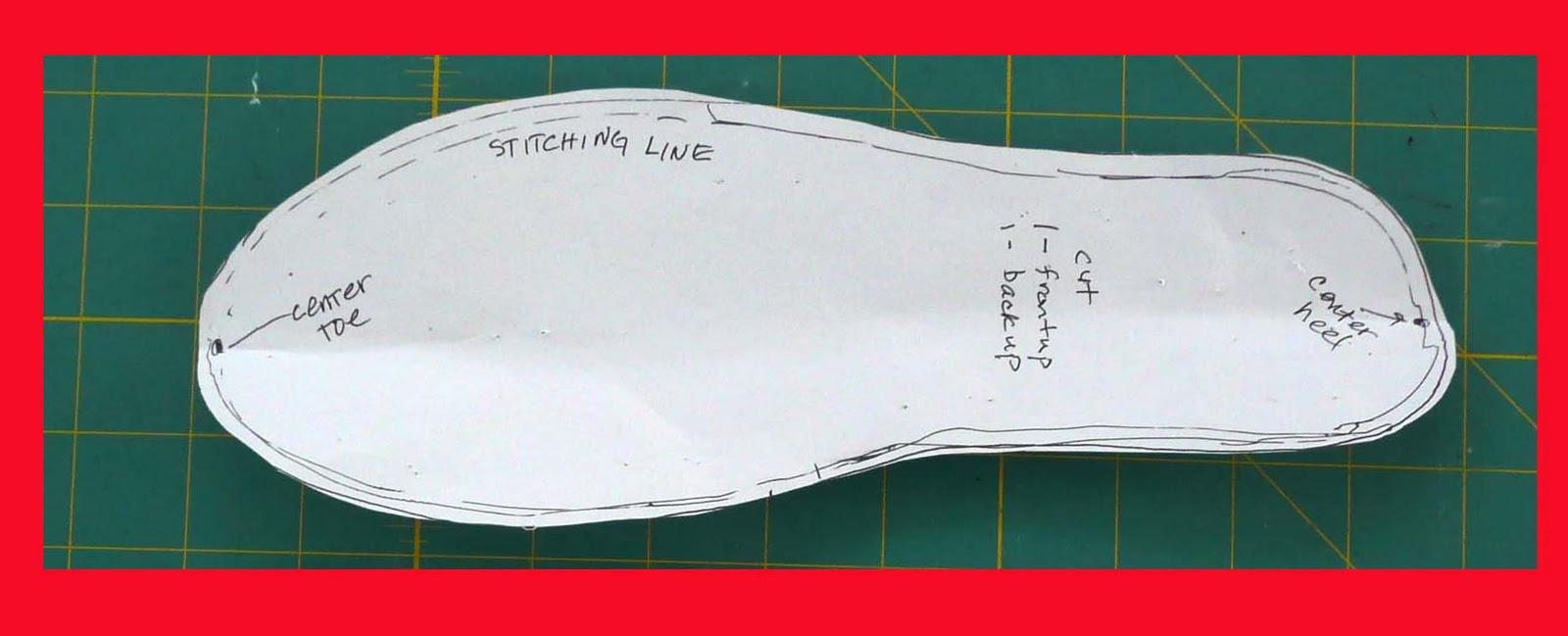Shoe Sole Outline Elf shoe sole pattern. (cut 2)