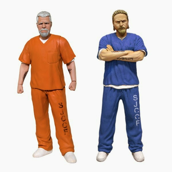 New York Comic Con 2014 Exclusive Sons of Anarchy Blue Prison Variant Jax Teller & Orange Prison Variant Clay Morrow Action Figures by Mezco Toyz