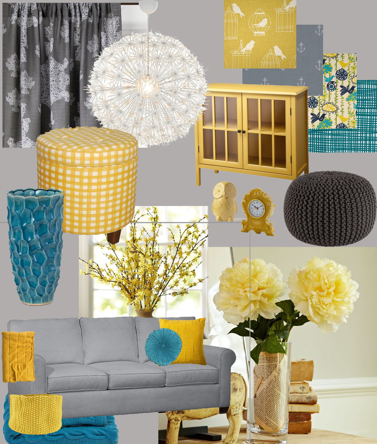 Hello imagination living room design board for Yellow living room ideas