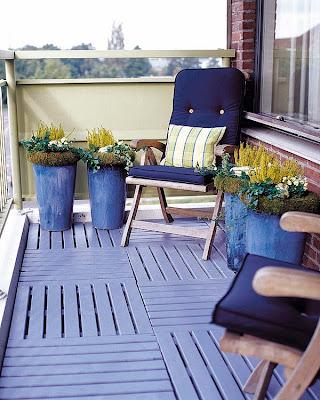varanda decorada azul