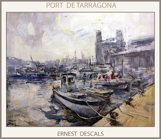 TARRAGONA-PINTURA-PORT-SERRALLO-CATALUNYA-PAISATGES-PINTURES-PUERTO-PINTURAS-MARINAS-PINTOR-ERNEST DESCALS-