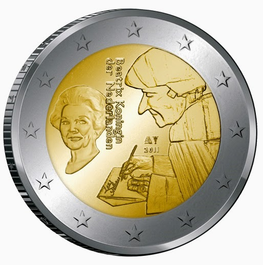 2 Euro Commemorative Coins Netherlands 2011 by Desiderius Erasmus of Rotterdam