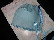 This precious Baby Blue. Vintage Hankie Bonnet (vintage hankie baby bonnet )