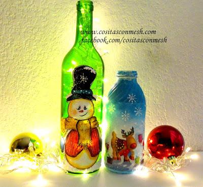 Bolsas navide as para botellas cositasconmesh - Botellas decoradas navidenas ...