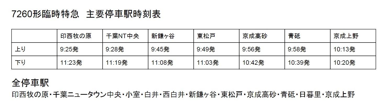 7260形臨時特急 主要停車駅時刻表