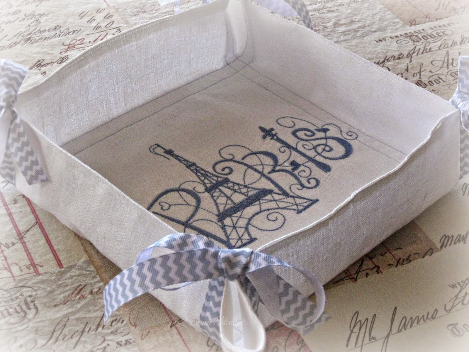 French Linen Bread Basket