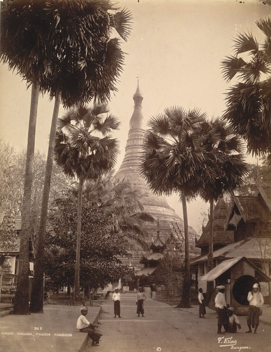 Old Picture of Shwedagon Pagoda in Rangoon, Burma
