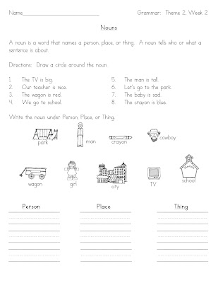 1st Grade Action Words Worksheet http://www.ateenytinyteacher.com/2011/09/nouns.html