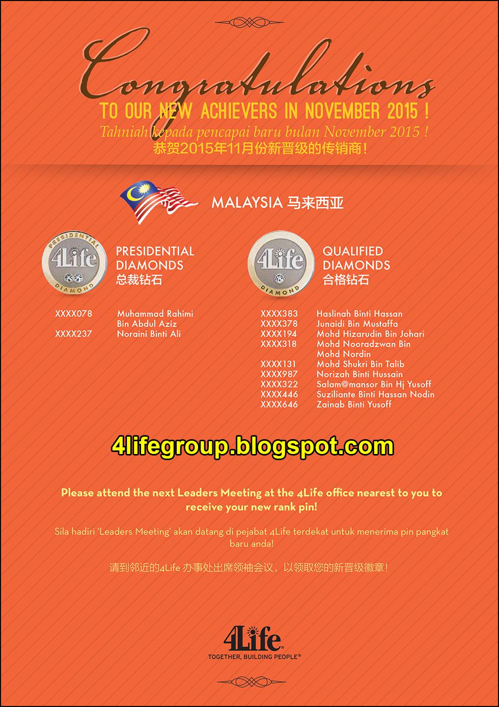 foto Pencapai Pangkat Baru November 2015 4Life Malaysia
