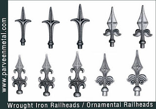 Ornamental iron Railheads gate tops and wrough iron Railheads gate tops hardware for gates parts and fences manufacturers exporters in  india, usa, uk, America, UAE Dubai, australia, italy