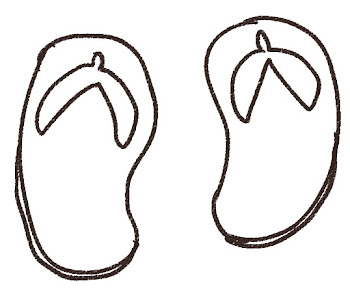 ビーチサンダルのイラスト 線画