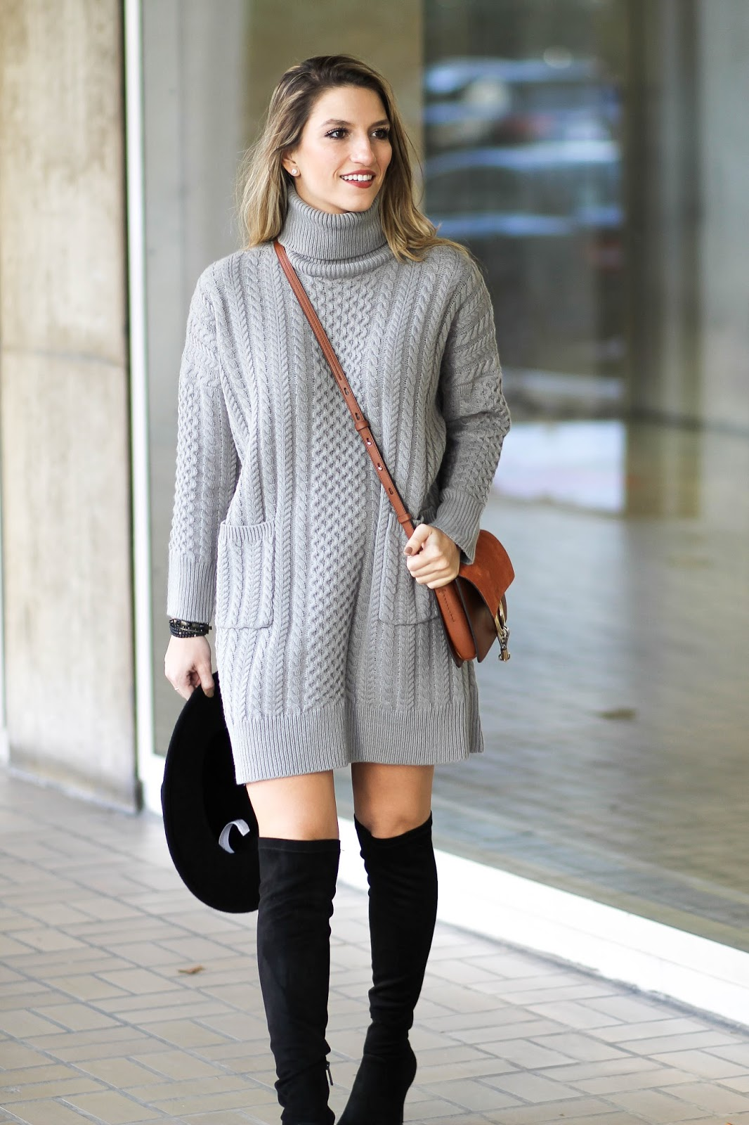 grey sweater dress, dressed for dreams