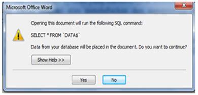 Pengambilan Data dari Excel ke Ms. Word
