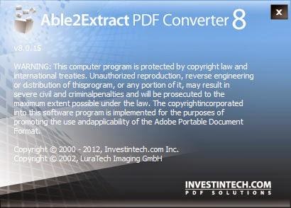 Able2Extract PDF Converter 8 - StartLogo