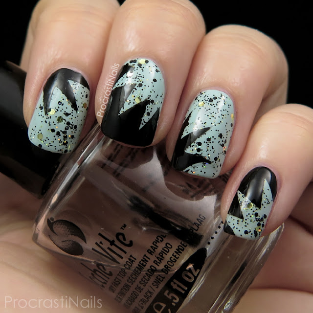 Manicure with Julep Shelly, Julep Beatrix, Sinful Colors Black on Black and Starburst Nail Vinyls