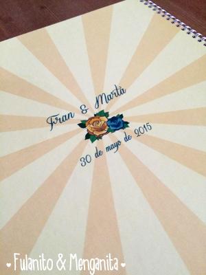 La contra portada del libro de firmas de Fran y Marta