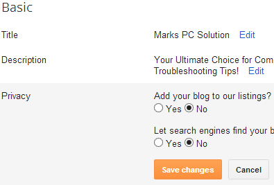 Privacy Option in Blogger Blog