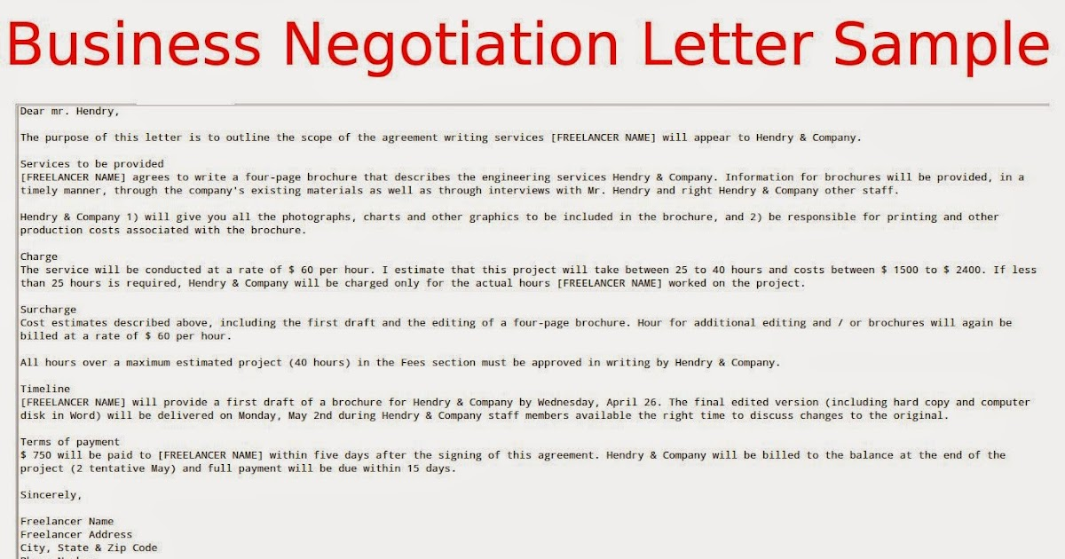 Letter Of Negotiation