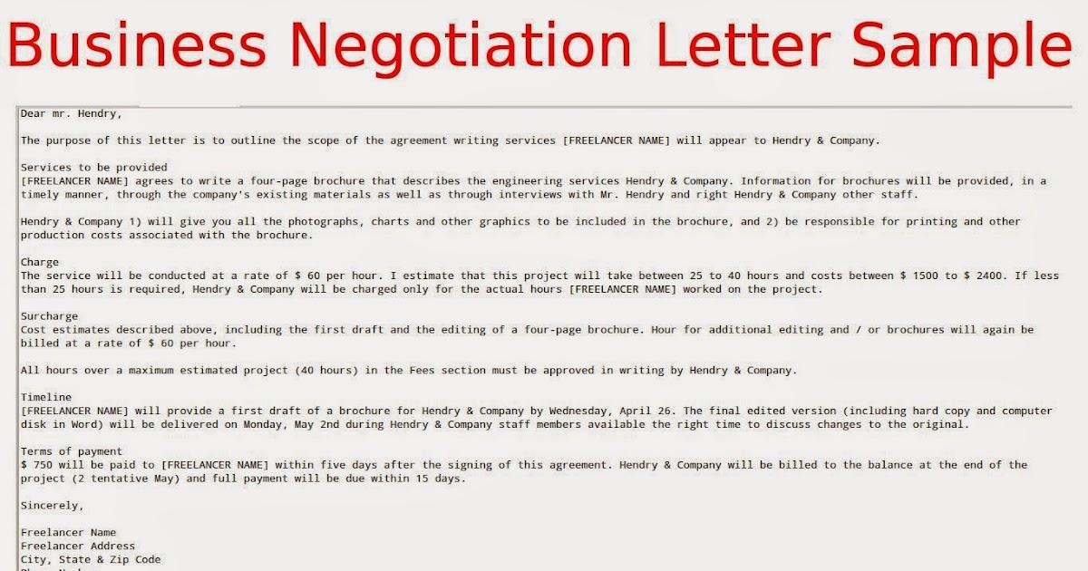 Business Negotiation Letter Sample Samples Business Letters