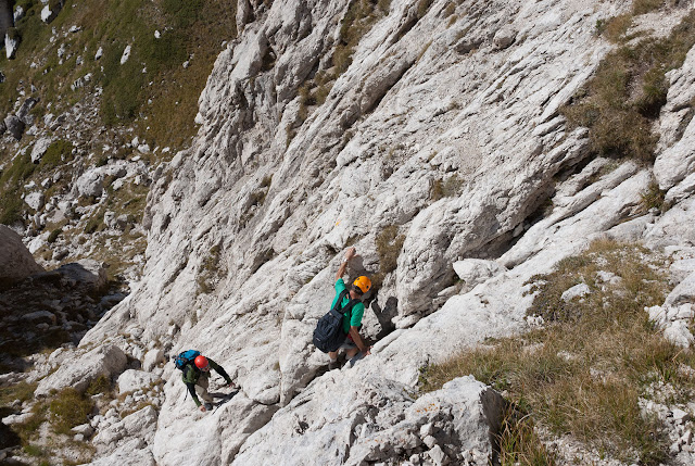 Canalino roccioso della via Cieri al Monte Infornace