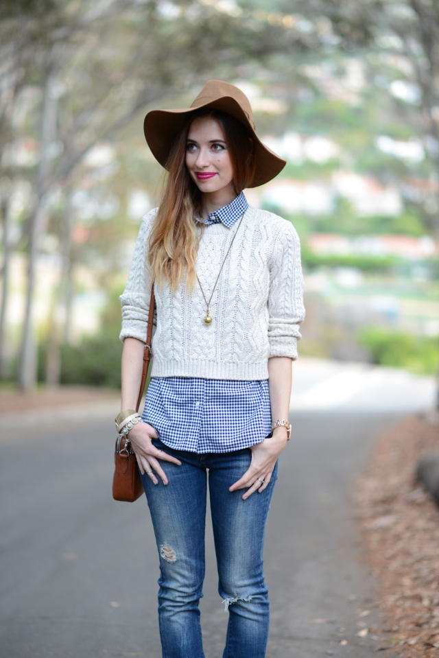 cropped oatmeal sweater with plaid button up and jeans via M Loves M @marmar