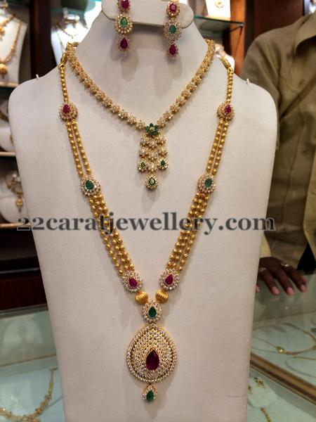 Simple Cz Choker Long Chain Jewellery Designs