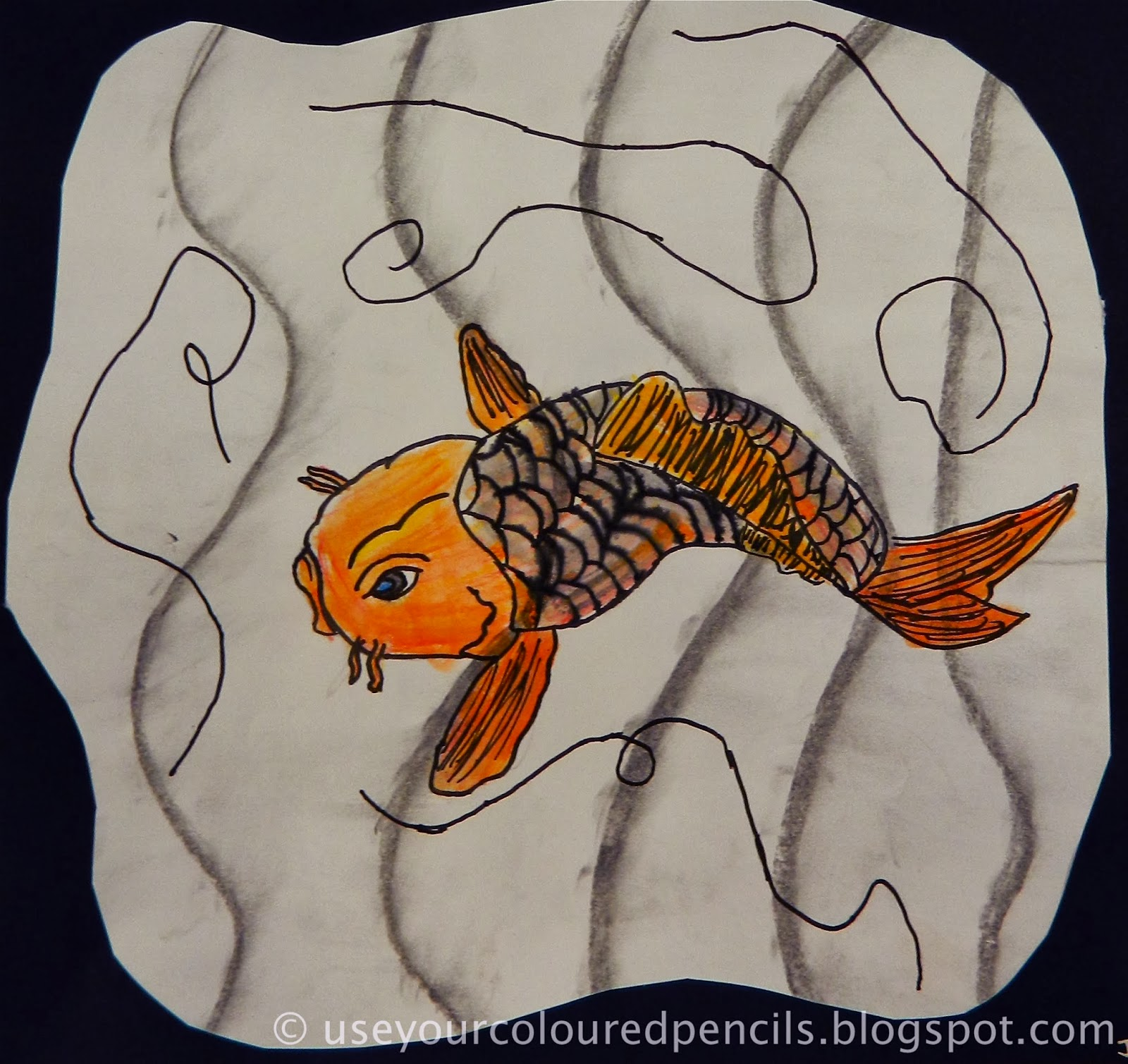 Use your coloured pencils japanese koi fish drawings for Japanese koi fish drawing