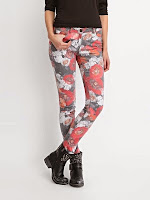 Pantaloni casual, corai cu gri, cu model floral (Top Secret)