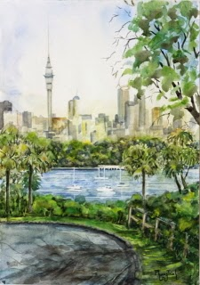 Wonderful New Zealand City Watercolor Painting on paper  size 29.5 x 42 cm