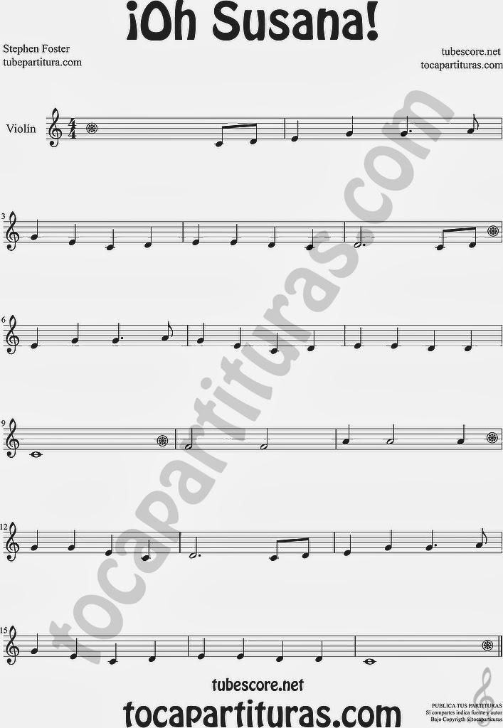 ¡Oh Susana! Partitura de Violín Sheet Music for Violin