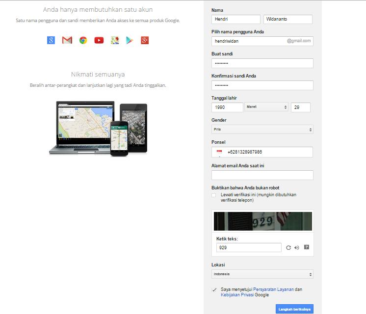 Cara Membuat Email di Gmail, masukkan identitas