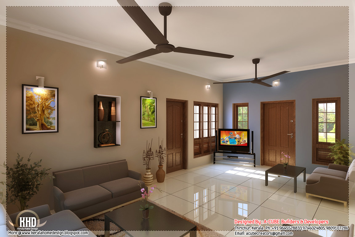 Kerala style home interior designs kerala home design for House living room interior design