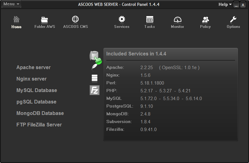 برنامج مجاني لمطوري ومصممي الويب لتجربة إصدارات مختلفة من خوادم الويب ASCOOS Web Server 1.4.7