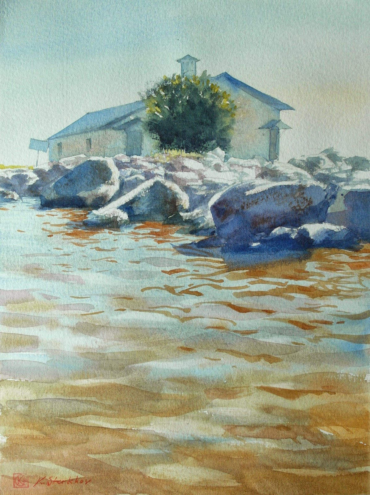 Art Of Watercolor: Water Surface, Reflection
