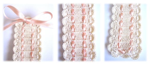 foto 2 pasacintas crochet: foto collage con detalle de tres partes del pasacintas de crochet de color beige y con cinta de raso color salmón