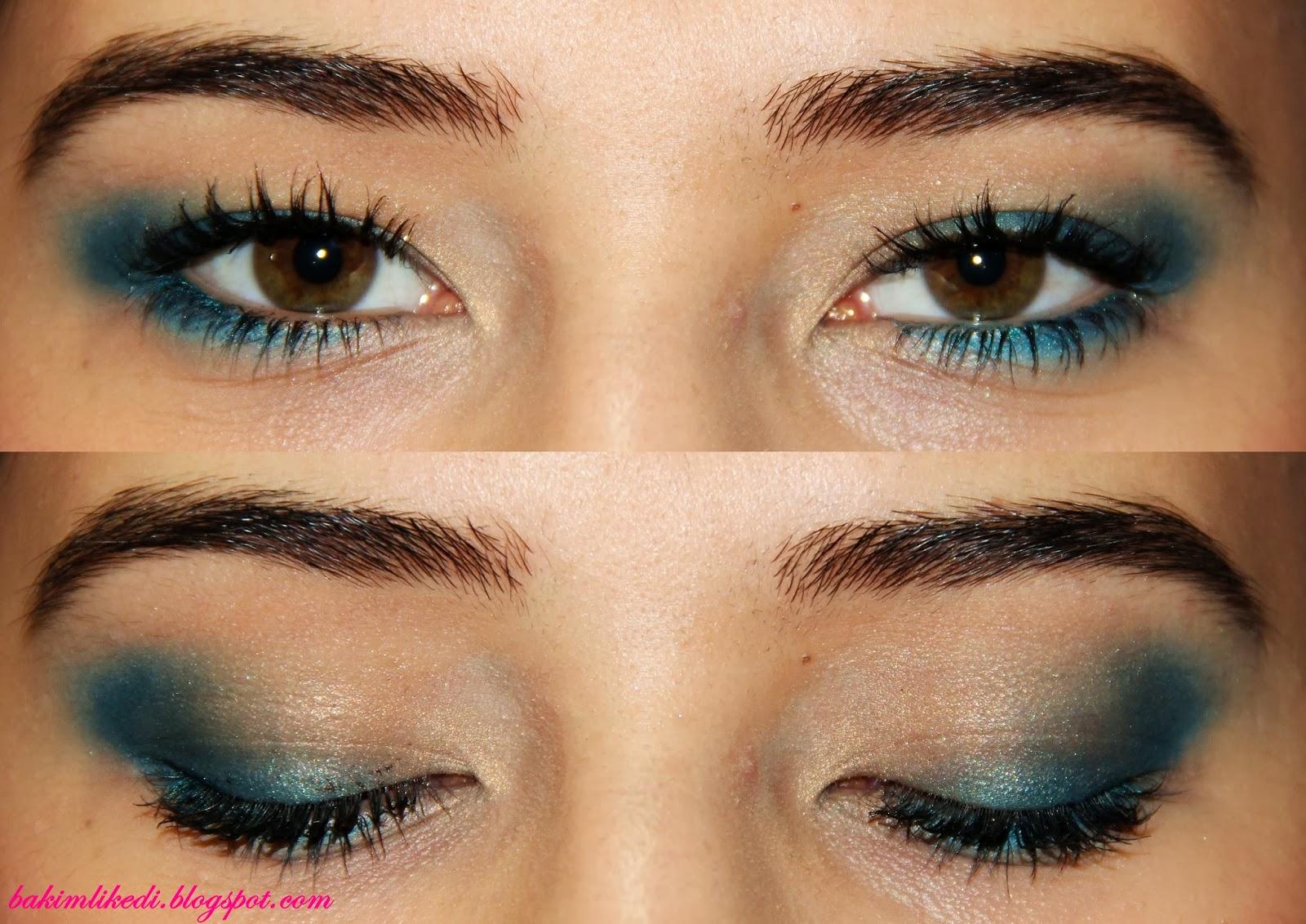 Koyu Mavi Göz Farı İçin Dudak Makyajı