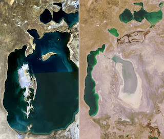Over the past 20 years (and really since the 1960's) the Aral Sea has shrunk from one of the largest lakes in the world to a shadow of its former self.