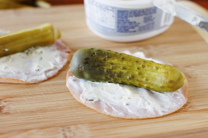 Making 3-Ingredient Ham & Pickle Bites