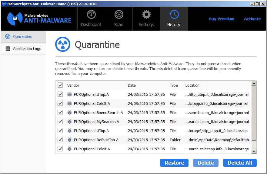 Malwarebytes delete threats in quarantine