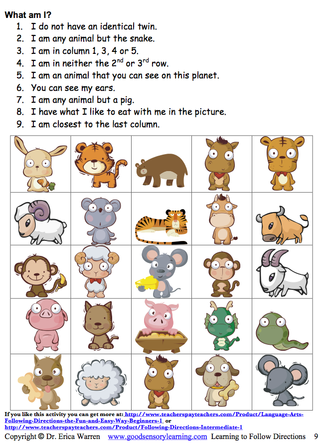 Classroom Freebies Too Following Directions Following Written And