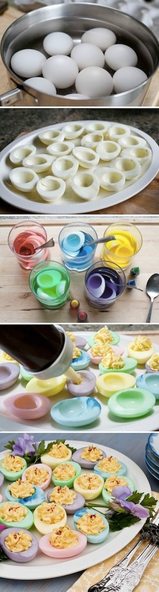 Add some pops of color to your everyday deviled egg recipe DIY