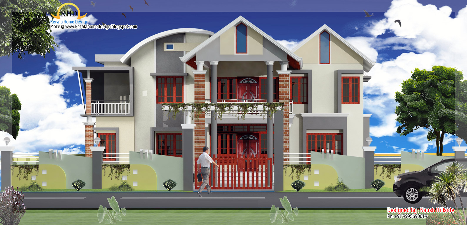 Duplex home elevation 3196 sq ft home appliance for Duplex images india