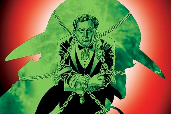 Art-only cover of Sherlock Holmes vs. Harry Houdini for New York Comicon