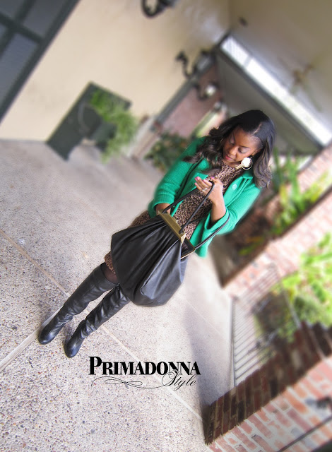 leopard animal print dress green cardigan michael antonio knee boots