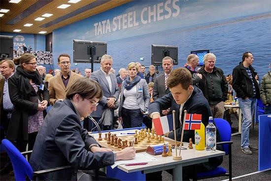 Le champion du monde d'échecs Magnus Carlsen a été neutralisé par le Français Maxime Vachier-Lagrave - Photo © Alina L'Ami