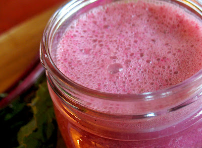 Beet and Top Green Smoothie with Apple, Orange and Ginger