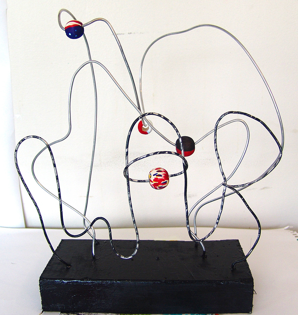 Cool stuff art gallery abstract bead wire sculpture art for Wire art projects