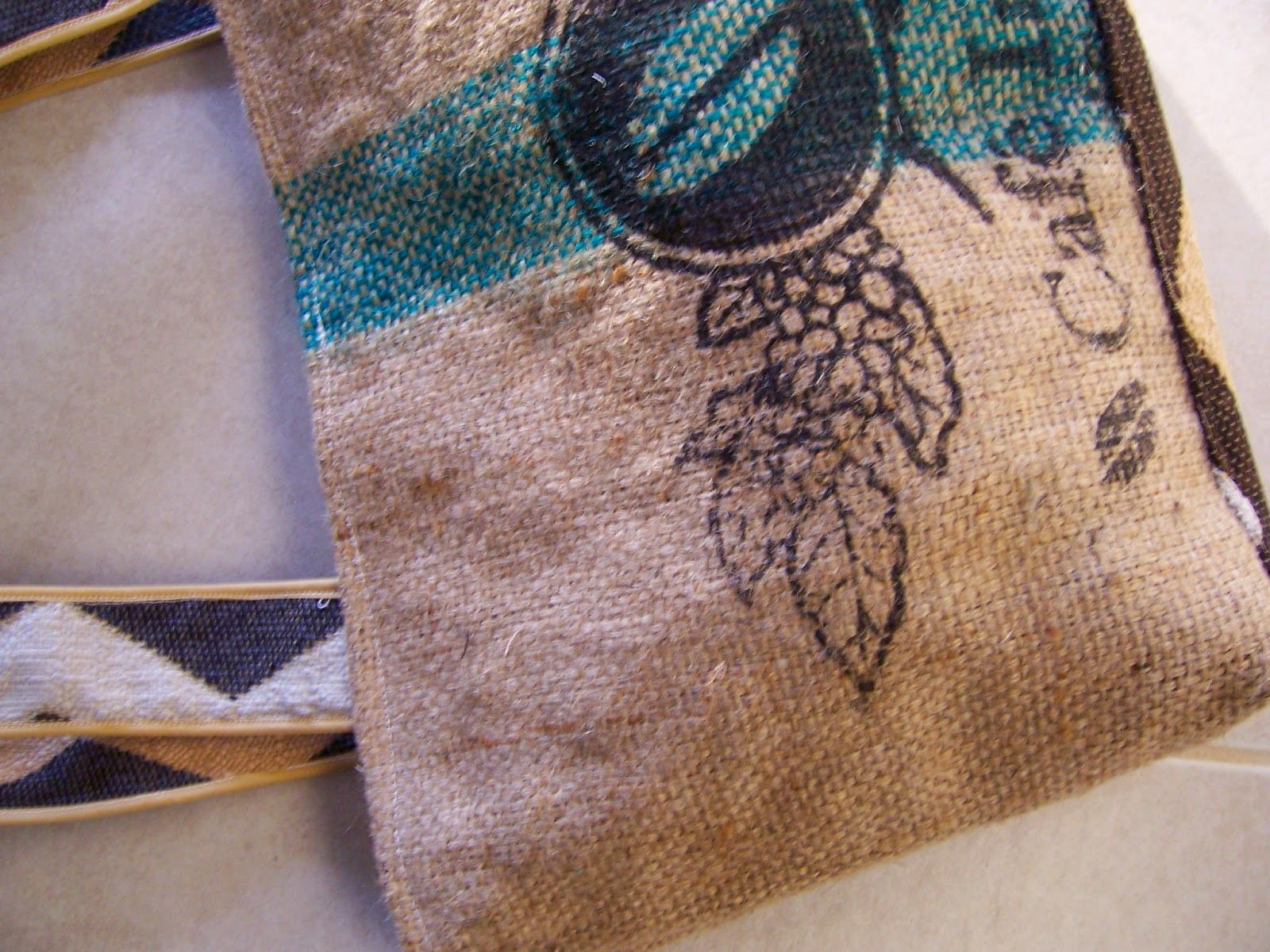Bean burlap tote bag - Lina and Vi Plymouth MI top view