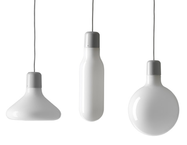 three pendant lights that are all different shapes